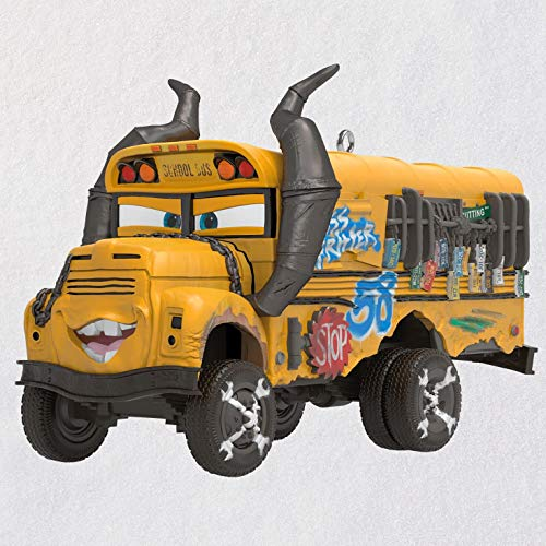 Hallmark Keepsake Christmas Ornament 2019 Year Dated Disney/Pixar Cars 3 Miss Fritter School Bus with Sound