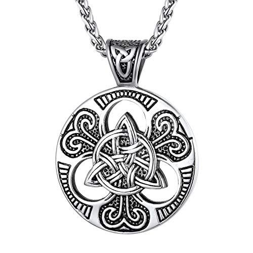 PROSTEEL Irish Necklace Men Vintage Triquetra Viking Celtic Knot Coin Jewelry Women Scottish Round Pendant Necklaces Vintage