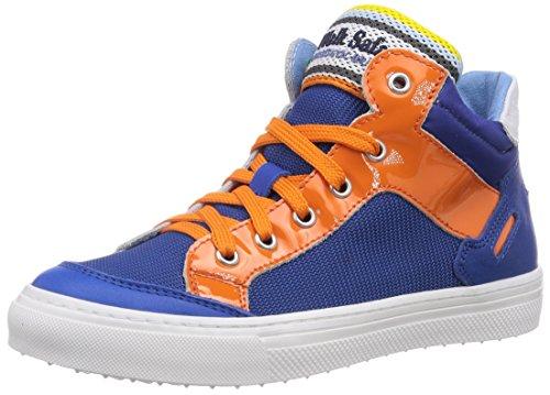 Walk Safari Sneaker, Baskets Hautes garçon - Bleu - Blau (BLUET/ARANC/Bianco), Taille 38 EU