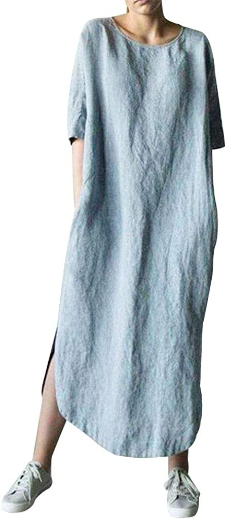 SameeLinen Womens Plus Outlet ☆ Free Shipping Size Boho Maxi Free shipping / New Dress Solid Linen Cotton L