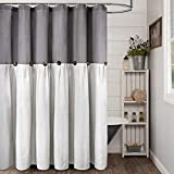 """Reisen Linen Farmhouse Shower Curtain Button Gray and Off White Shower Curtains for Bathroom, 72"""" x 72"""""""