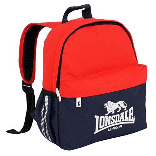 Lonsdale Unisex Mini Rucksack Reißverschluss Marineblau/Rot Einheitsgröße