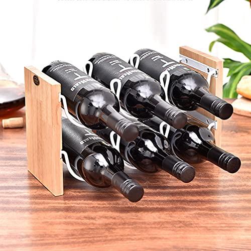 Estante para Botellas De Vino para Encimera, Capacidad para 6 Botellas, Soporte para Vino De Madera De Mesa De 2 Niveles, Decoración del Hogar Y Almacenamiento En La Cocina Blanco