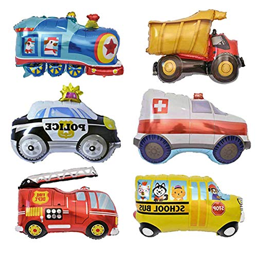 6PCS Car Balloons School Bus Fire Truck Train Ambulance Police Foil Balloons Vehicles Balloons for Birthday Party Supplies