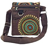 Guru-Shop Bandolera Pequeña, la Bolsa Hippie, Goa Bolsa - Marrón, Unisex - Adultos, Algodón, Tamaño:One Size, 18x17x4 cm, Bolsas de Hombro