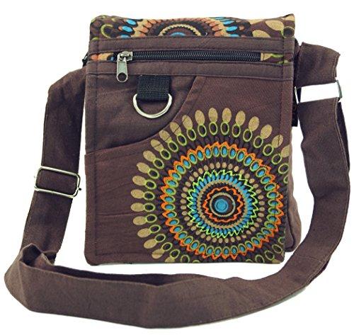 GURU SHOP Kleine Schultertasche, Hippie Tasche, Goa Tasche - Braun, Herren/Damen, Baumwolle, Size:One Size, 18x17x4 cm, Alternative Umhängetasche, Handtasche aus Stoff
