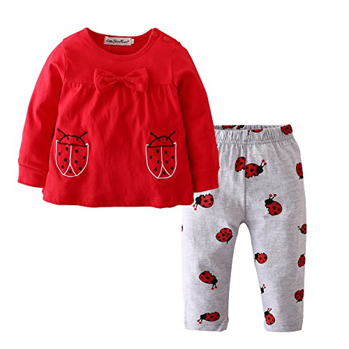 Eghunooy Baby Girls Clothes Set 2 Piece Long Sleeve Ladybug Pattern Toddler Outfits (12-18 Months) Red
