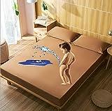 Ultra Suave Protector de Colchón,Funda de colchón de franela suave y cómoda Bordado de terciopelo de color sólido Protector cálido grueso Sábana ajustable Fundas de cama elásticas-G_150x200+30cm