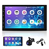 7 inch Double Din Stereo Android Car Radio Touch Screen Bluetooth Audio Player in-Dash Car Video Player with GPS+WiFi+FM Radio Phone Mirror Link & Upgrade Backup Camera + External Microphone