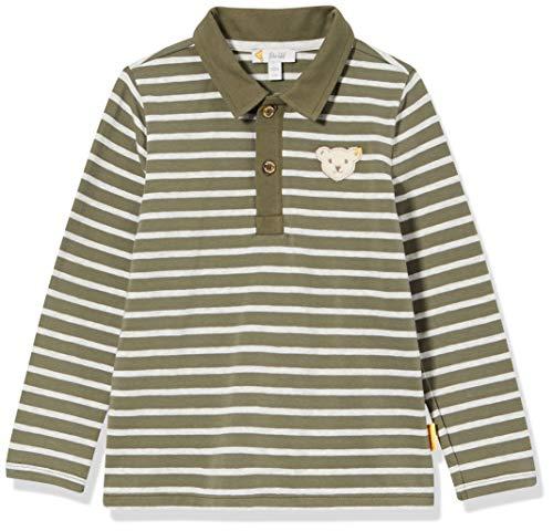 Steiff Jungen mit süßer Teddybärapplikation Poloshirt Langarm, Dusty Olive, 086