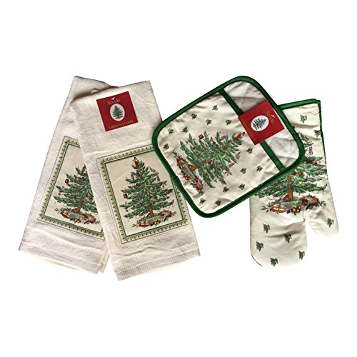 Spode Christmas Tree 4-pc Kitchen Gift Set Includes Oven Mitt, Square Pot Holder, 2 - Cotton Terry Kitchen Towels