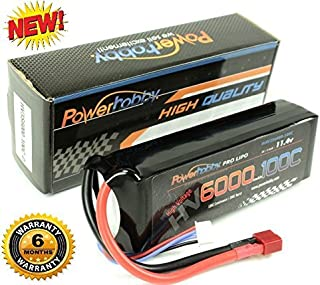 Powerhobby 3S 11.4V High Voltage 6000mAh 100C-200C Lipo Battery Pack w Deans Plug 3-Cell Fits : Assocated Hpi Savage Vorza E10 Rs4 Blitz Duratrax Aquacraft