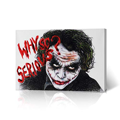HB Art Design Heath Ledger The Joker Quote Pencil Drawing Canvas Wall Art 'Why So Serious' Wall Art Decorative Home Decor Poster Living Room Dorm Decor Ready to Hang - Made in USA - 8x12