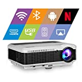 EUG WiFi Projector 4800lumen Android Bluetooth LCD Home Theatre Projector with Android OS HDMI 1080P Outdoor Movie Gaming, Wireless Screen Share with iPhone