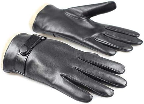 JH&& Gants en Cuir Warm Warm Riding Men's Driving Soft Plus Velvet