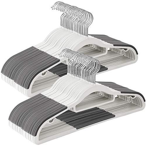 SONGMICS - Perchas de plástico resistentes con diseño antideslizante, 0,5 cm de grosor, gancho giratorio de 360 °, 42 cm de largo, blanco y gris UCRP020W02