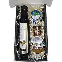 Cesta de productos gourmet para Navidad con aceite de oliva virgen extra 250 ml en vidrio, crema de queso de oveja natural 110 g, paté ibérico DELIEX en formato de 30 g y mermelada de naranja