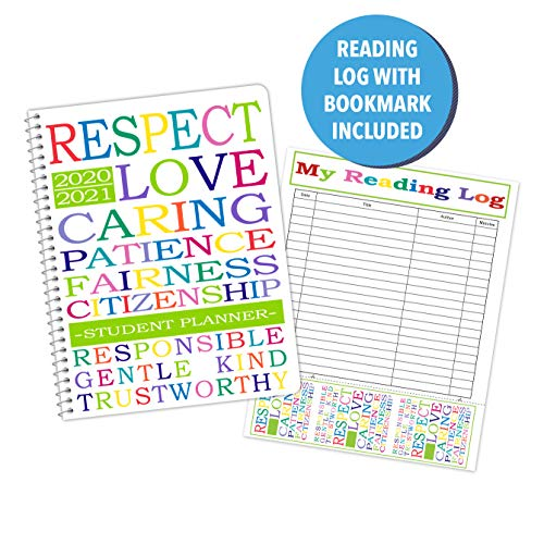 Dated Elementary Student Planner and Free Reading Chart with Bookmark for Academic School Year 2020-2021- Jostens Planner Brand- (8-1/2' x 11')