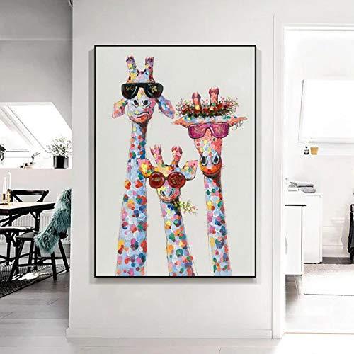 Impresión en Lienzo Mural HD Familia de Jirafas con Gafas Pintura en Lienzo Animales Carteles e Impresiones Imágenes artísticas de Pared para la Sala de Estar Decoración del hogar