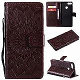 Étui en cuir Sun Flower Printing Design PU Leather Flip Wallet Lanyard Housse de protection avec...