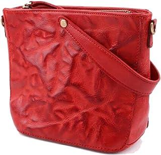Trendy Lady Leather Shoulder Bag Fashion Retro Handbag Fashion Messenger Bag Zgywmz (Color : Red, Size : 24 * 18 * 10cm)