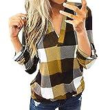 Camiseta a Cuadros de Manga Larga con Cuello en V para Mujer Túnica Tops Blusa Camisas, Elegantes Moda Negocios Camisa Suelta Tops Jerseys Casual Suelta Blusas Sudadera