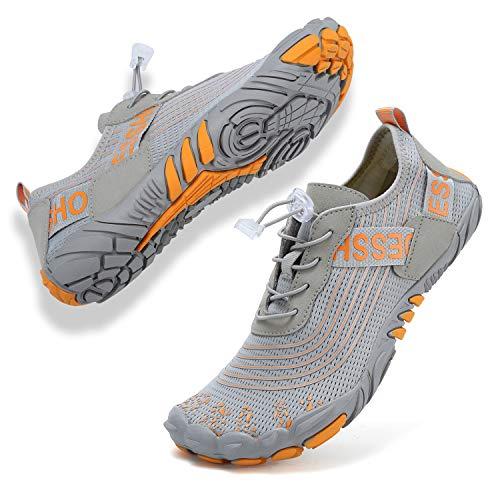 Topwolve Escarpines para Hombre Barefoot Secado Rápido Zapatos de Agua Respirable Antideslizante Zapatillas de Deportes Acuáticos Buceo Snorkel Surf Yoga,Gris,37 EU