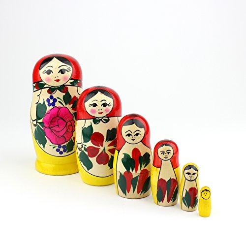 Muñecas Rusas, 6 Matrioskas Rojas de Estilo Semiónov Clásico | Muñeca Babushka de Madera Hecha a Mano en Rusia | Semiónov Rojo, 6 Piezas, 13 cm