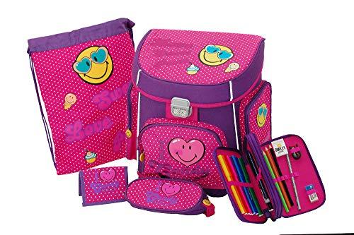 Juego de 5 piezas ABC Smiley de mochila escolar, estuche, bolsa de deporte, estuche y monedero, color rosa