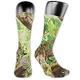 Photo de Soft Mid Calf Length Socks,Leopard On The Branch In Savannah Exotic Macro Tropical Leaf Jungle Wild Nature Art,Women Men Socks Cotton Casual Funny Cute