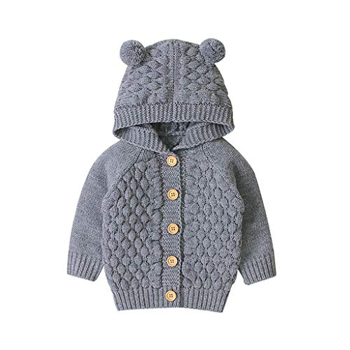 Miss Fortan Baby Kinder Mantel Mädchen,Warm Winter Coat Mantel Jacke Strickmantel Herbst Einfarbig Kleidung Kapuzenpullover Dick Jacken (0-24Monate) (Grau, 80)