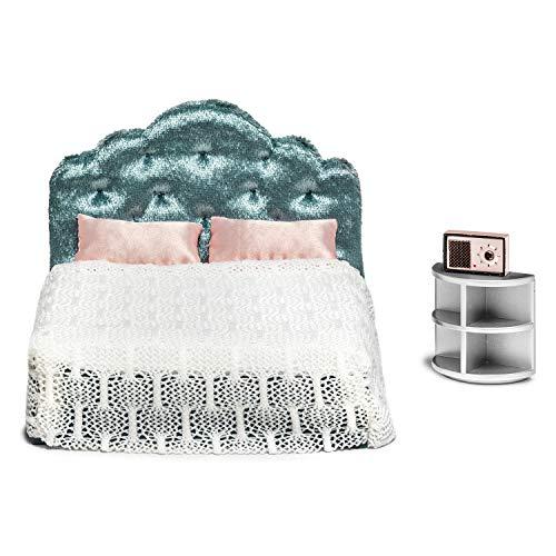 Lundby 60-200600 - Schlafzimmer Puppenhaus - Möbelset 7-teilig - Puppenhauszubehör - Möbel - Schlafzimmerset - Doppelbett - Bett - Bettwäsche - Zubehör - ab 4 Jahre - Minipuppen 1:18