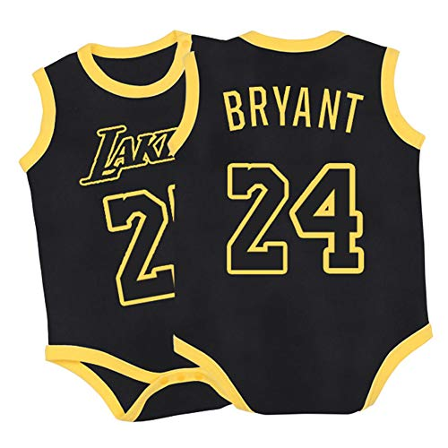 Bryant Lakers # 24 Kinder Jungen Basketball Sportbekleidung Set Outfit für 1-7 Jahre Atmungsaktive Jungen Training Shorts Sets-black-66(cm)