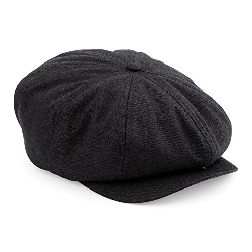 Beechfield Mens Classic Herringbone Newsboy Cap (LXL) (Black)