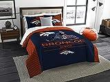 Denver Broncos Draft - 3 Piece King Size Bedding Comforter Set - Includes: Comforter & Shams - NFL Home Decor Logo Bedding Accessories