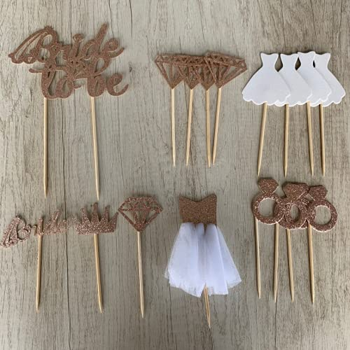 Bride to be Cake Topper, 17 Piezas Oro Rosa Tartas Cupcakes Decoración...