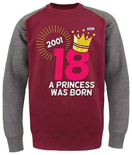 HARIZ Herren Baseball Pullover Jahr 2001 Princess was Born 18 Geburtstag Volljährig Achtzehnter Plus Geschenkkarte Wein Rot/Dunkel Grau XXL