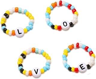 Bohemian Beaded Ring Set Colorful Seed Beads Love Letter Ring Handmade Cute Elastic Beaded Rings Aesthetic Summer Beach Vs...