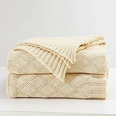 Longhui bedding Cream Cotton Cable Knit Throw Blanket for Couch Chairs Beach Sofa, Home Decorative Blanket, 50 x 60 inch Gift a Washing Bag