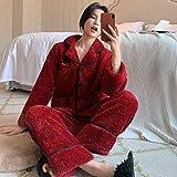 Pijamas Mujer Camisón Conjunto De Pijamas De Terciopelo Coral De Doble Felpa con Bordado Dulce De Invierno para Mujer, Pijama De Franela De 2 Piezas, Traje Informal De Talla Grande, Ropa De Hogar