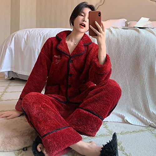 Pyjama Damen Nachthemd Schlafanzug Frauen Winter Sweet Stickerei Doppel Plüsch Korallen Samt Pyjama Set 2-Teilige Flanell Pyjamas Anzug Casual Plus Size Homewear XL Weiniert