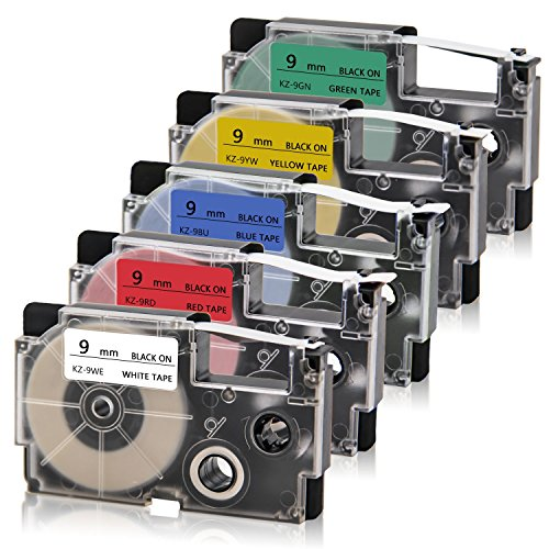 """Absonic Compatible Label Tape Replacement for XR-9WE XR-9RD XR-9BU XR-9YW XR-9GN Tape Cassette for Casio KL-60 KL-100 KL-120 KL-750 KL-780 KL-7000 KL-8100 Label Maker, 3/8"""" x 26', 9mm x 8m, 5-Pack"""