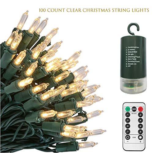LED Lichterkette Weihnachtsbeleuchtung,10 Meter 100 LED,Batteriebetriebene Weihnachten Lichter mit Fernbedienung Timer 8 Modi Dekoratives für Zuhause Party Garten Außen Innen Weihnachtsbaum-Warmweiß
