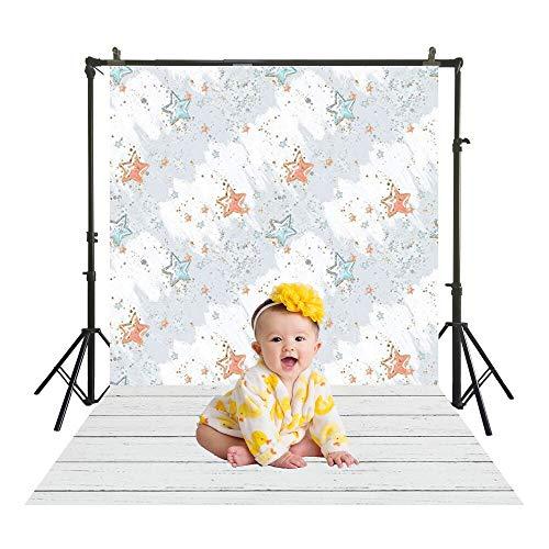 SM-1052 Waterverf het schilderen sterren bloeiende polyester fotografische achtergrond met houten vloer peuter kinderen portret fotostudio achtergrond 150x220cm