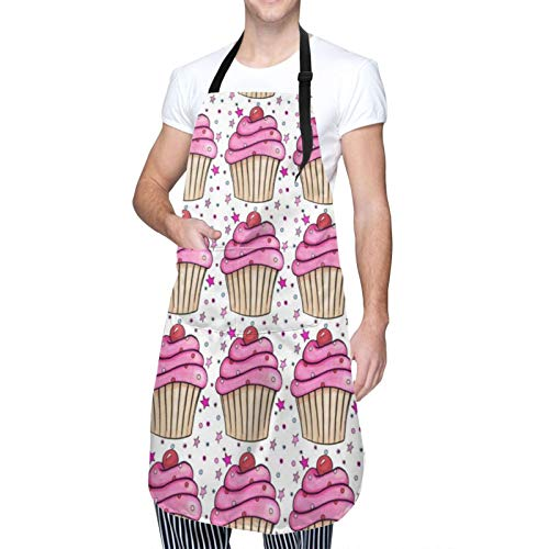 SBLNHAO Pink Cupcake Waterproof Bib Apron with 2 Pockets Unisex Adjustable for Kitchen Cooking Chefs BBQ