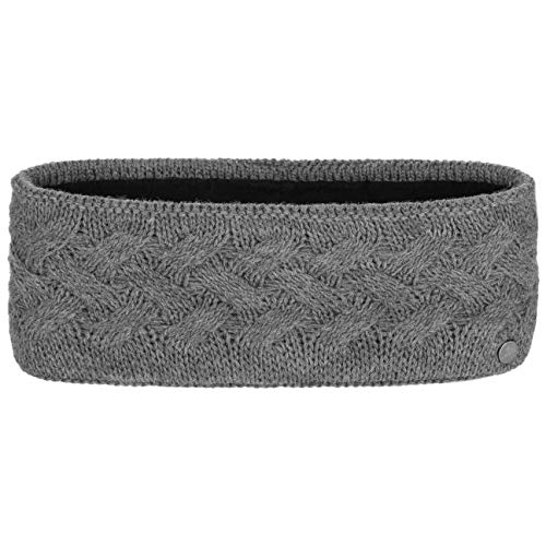 Lierys Fauske Stirnband Damen (10,5 cm breit) mit Schurwolle - Made in Germany - One Size 55-60 cm - mit Innenfutter aus Fleece - Headband mit geflochtenem Strickmuster - Herbst/Winter grau One Size