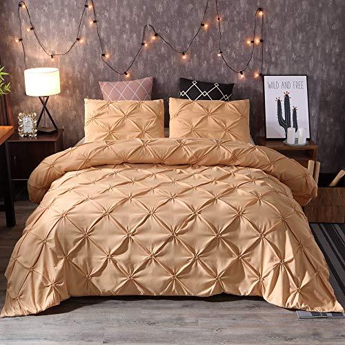Bettbezug mit Kissenbezug, 100 % gebürstete Baumwolle, ultraweich, für Einzel-, Doppel-, King-Size-Betten, verschiedene Stile und Größen (C,Super King 230 x 260 cm)