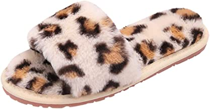 Dainzuy Womens Faux Fur Slippers Soft Plush Warm Leopard House Shoes Anti Slip Open Toe Indoor Outdoor Slippers