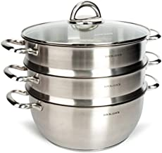 HJRD Stainless Steel Composite Bottom 28CM Two-layer Three-layer Steamer + Soup Pot Set Combination, Induction Cooker Gas ...