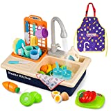 GrowthPic Play Kitchen Sink Toys, Pretend Play Sink with Running Water, Kids Kitchen Accessories with Utensils, Color Changing Toys in Water, Apron and Cutting Play Food for Girls Boys and Toddlers